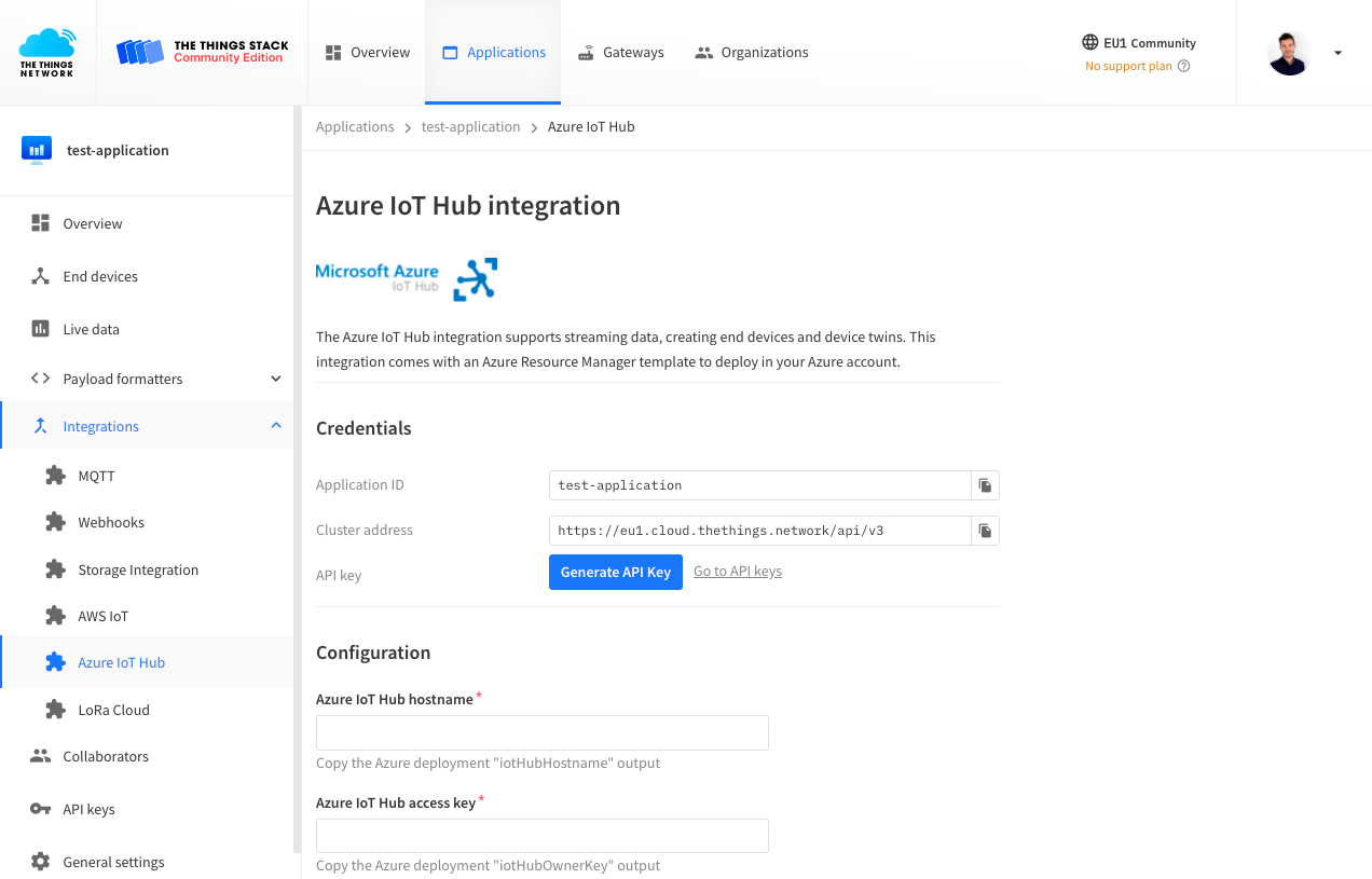 Azure IoT Hub integration in The Things Stack Console
